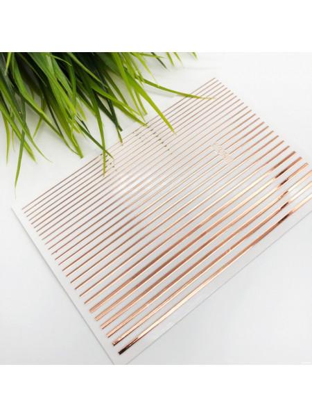 3D металлические наклейки полосы для дизайна ногтей ROSE GOLD